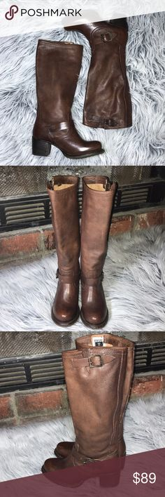 """Frye Vera Slouch Boot Details Sizing: True to size.  - Round toe - Adjustable 2-buckle detail - Lightly cushioned footbed - Stacked heel - Approx. 14"""" shaft height, 15"""" opening circumference - Approx. 2.5"""" heel - Imported, gently worn a few times no stains or holes  Frye Shoes"""