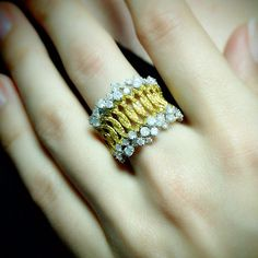 """Regal"" Yellow Diamond Crown Ring"