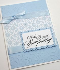 Sympathy Handmade Card / With Deepest Sympathy Card / Condolences Card / Blue, White / Flowers Sympathy Handmade Card / With Deepest Sympathy by CardsbyGayelyynn by lorie Making Greeting Cards, Greeting Cards Handmade, Making Cards, Cricut Cards, Stampin Up Cards, Deepest Sympathy, Embossed Cards, Get Well Cards, Paper Cards