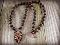 Glass Charm Necklace Pendant Recycled Black Glass Beads Copper Wire Beads Handmade Beaded Jewelry Glass Pendant Copper Glitter and Black