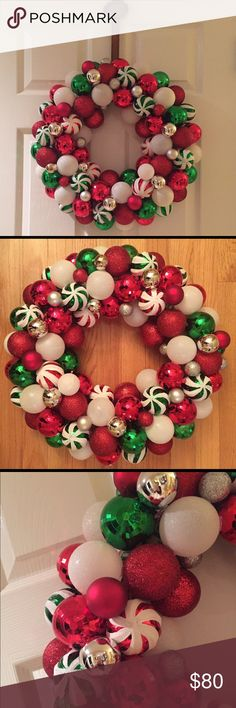 """18"""" Holiday Ornament Wreath I made this Wreath with over 100 shatterproof multi size and textured ornaments. Custom orders welcome, just let me know what size and colors. Great addition to any door and guaranteed to stand out! Other"""