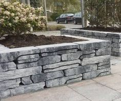 Stone Walling Naturel Grijs/Zwart 18 x 42 x 8 cm per 100 M2, Stone Planters, Planter Boxes, Sidewalk, Building, Wood, Gardening, Summer 3, Backyard Ideas