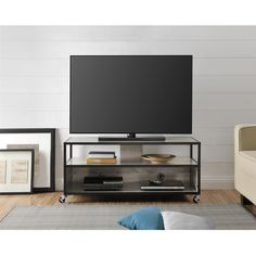 Altra Mason Ridge 46 inch Mobile TV Stand ($160) ❤ liked on Polyvore featuring home, furniture, storage & shelves, entertainment units, mobile home furniture, mobile tv stand, systems furniture, metal media cabinet and metal furniture