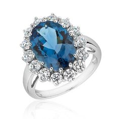 London Blue Topaz and Created White Sapphire Ring - Shop for Diamond Rings - Engagement Rings uk