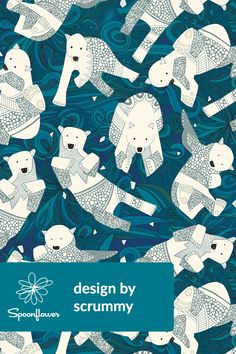 arctic polar bears blue by scrummy - Beautiful hand illustrated polar bears on a blue background on fabric, wallpaper, and gift wrap. Adorable polar bears in various poses with an icy background. Perfect for throw pillows, table cloths, or wallpapering a ski cabin! #polarbears #arctic #illustration #design #ice #surfacedesign #creative