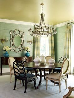Love the green with gold ceiling