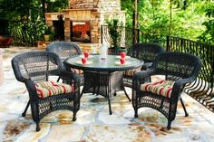 Discover the best outdoor wicker dining sets for your patio, balcony, and porch. We love outdoor wicker dining tables and chairs sets. 48 Round Dining Table, Wicker Dining Set, Wicker Chairs, 5 Piece Dining Set, Outdoor Dining Set, A Table, Patio Dining, Dining Sets, Dining Tables