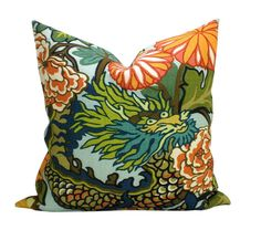 Pair of TWO Schumacher Chiang Mai Dragon pillow by sparkmodern, $210.00
