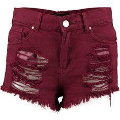 Boohoo Mona High Rise Distress Denim Hotpants   Boohoo ($19) ❤ liked on Polyvore featuring shorts, short shorts, micro shorts, mini shorts, high waisted short shorts and high waisted hot pants