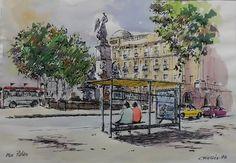 Plaça Palau (Barcelona). Ink & watercolor, Joaquim Francés
