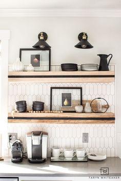 Spring Decor Ideas - Taryn Whiteaker Ikea, Beautiful Kitchen Designs, Home Decor Inspiration, Decor Ideas, Kitchen Inspiration, Diy Ideas, Design Inspiration, Shelf Design, Kitchen Shelves