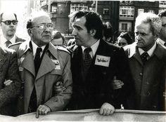 Santiago Carrillo junto a Luis Gómez Llorente (1939-2012) y Horacio Fernández Inguanzo (1911-1996), durante la manifestación celebrada en Avilés el 30 de mayo de 1984 en defensa de Ensidesa.
