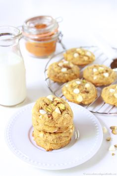 Pumpkin White Chocolate Pistachio Cookies on www.cookingwithru... are a must-make for your autumn baking! #gladeforfall #spon