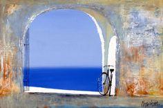 Santorini memories ,,Greece By Sergei cherkasov Bicycle Art, Bike, Through The Window, Santorini, Lovers Art, Impressionism, Painting & Drawing, Surfboard, Oversized Mirror