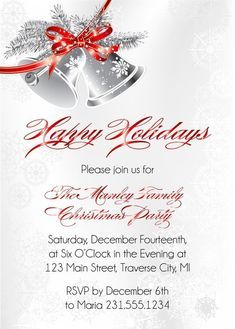 Browse Christmas Party Invitations from Announce It! Find classy holiday cards and invitations for your next gathering with family and friends. Christmas Wedding Invitations, Wedding Cards, Christmas Gift For Your Boyfriend, Free Christmas Printables, Christmas Bells, Christmas Tree, Xmas Party, Christmas Design, Party Planning