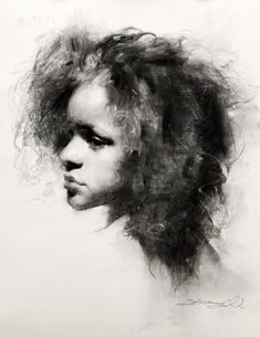 charcoal. Lost and found edges. hair