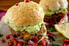 Mexican Burgers - I added a variation of spices to my burger patty and even though I only used beef mince, I think adding some pork would be really nice as well. The result was scrumptious and lip-smacking good! Serve this with real corn chips for authenticity or with spicy potato wedges. And don't forget the extra lemon and chillies!