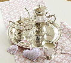 Silver Tea Set #PotteryBarnKids.A beautiful Heirloom that she'll pass down to her daughter