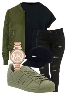 """winter falls outfit"" by rabiamiah on Polyvore featuring adidas, Topshop, Michael Kors and NIKE                                                                                                                                                      More"