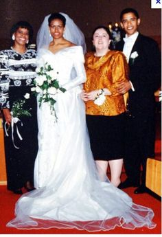 Barack and Michelle Robinson Obama on  their wedding day with their mothers, Marian Robinson and Ann Dunham.