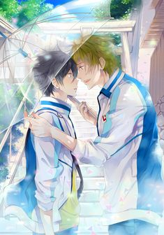 Free! ~~ Why the umbrella? The sky is blue and it's not raining. :: Nanase Haruka & Tachibana Makoto