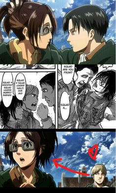 Everybody loves Hanji  :D XD LEVI, MOBLIT and MIKE . Levihan