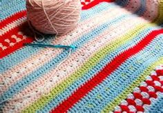 love these colours and this pattern, nice sort of sampler to make in kingsize. cath kidston crochet blanket - Bing Images