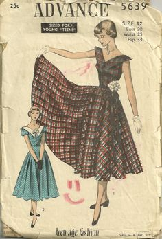 Image result for size for young teens patterns 1950