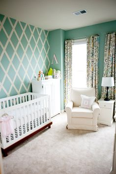 Aimee's gender neutral nursery with DIY criss cross paint pattern