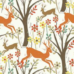 Dear Stella Fabric - Woodland Deer - Bone - 100% Cotton