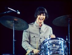 Ringo performing at Shea Stadium - The Beatles