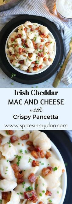 This Irish cheddar mac and cheese is super creamy, delicious, and topped with crispy pancetta! The ultimate comfort food. Scottish Recipes, Irish Recipes, Irish Meals, Pasta Recipes, Dinner Recipes, Cooking Recipes, Cheese Recipes, Casserole Recipes, Pasta Dishes