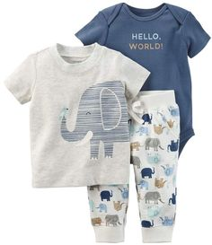Little Me Baby Boys Cute Grey /& Green Elephant Shortalls /& Tee 2pc Outfit