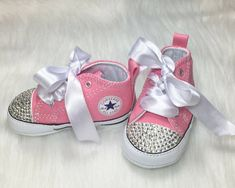 Custom Baby Converse with Bling and Satin Laces ~ Soft Sole Infant Shoes Bedazzled ~ Swarovski Crystals Available ~ Bedazzled Converse, Rhinestone Converse, Baby Converse, Converse Brillantes, Cute Baby Shoes, Baby Bling, Baby Fashionista, Crib Shoes, Baby Accessories