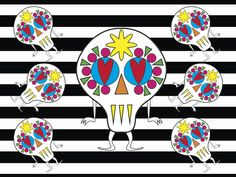 """Grafica di Riot Clothing Space: """"Skull on stripes"""" #pattern #thecolorsoup #abstract #texture #colors #design #style #skull #stripes"""