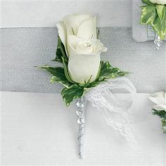 Double White Rose Corsage