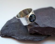 Snowflake Obsidian Wide Sterling Silver Ring ~ stacking ring, unisex, men's ring, women's ring, gemstone