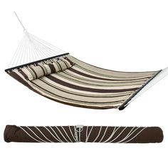 F2C 450lbs Capacity Fall Camp Double Size Hammock Quilted Fabric with Spreader Bar Heavy Duty Stylish Swing Bed W/ Pillow Outdoor Camping Dark Grey >>> You can find out more details at the link of the image. (This is an affiliate link) #OutdoorFurniture