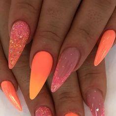 Orange nails, summer nails, summer acrylic nails, acrylic nail art, a Neon Coral Nails, Orange Nails, Acrylic Nail Designs, Nail Art Designs, Cute Nails, Pretty Nails, Hair And Nails, My Nails, Nail Manicure