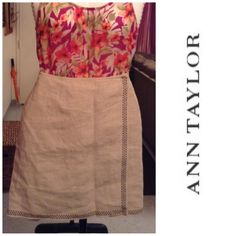 """Ann Taylor Skirt Ann Taylor Skirt is 100% Linen. This is a Beautiful and comfortable Skirt. Size 8.  The color is a Tan/Light Brown. The Length is """"18.5.  Laying flat Side to Side is """"14.5. This item is in Good condition, Authentic and from a Smoke And Pet free home. All Offers through the offer button ONLY. I Will not negotiate Price in the comment section. Thank You Ann Taylor Skirts"""