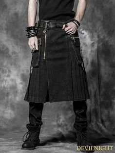 Black Gothic Punk Skirt for Men - Devilnight.co.uk