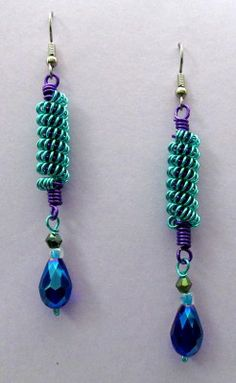 """""""Spiral Coils"""" Teal & Purple Craft Wire Earrings by Nels Nelson Wire Earrings, Drop Earrings, Purple Crafts, Wire Weaving, Handmade Accessories, Spiral, Teal, Jewels, Crafty"""