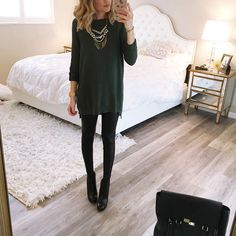 """""""Today's look. I have been living in sweaters and leggings. These leggings are only $28 and my sweater zips on the sides and comes in a ton of colors.…"""""""