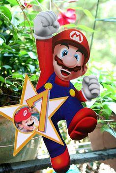 Super Mario DIY Printable Party Centerpiece by lulucole on Etsy Super Mario Party, Super Mario Bros, Super Mario Birthday, Mario Birthday Party, 5th Birthday Party Ideas, Birthday Party Centerpieces, Super Mario Brothers, Boy Birthday Parties, Birthday Stuff