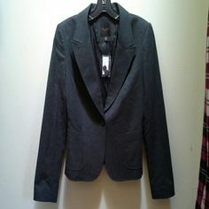 Dark grey blazer NWT Gorgeous dark grey blazer from The Limited, NWT. Fully lined, has three buttons on sleeves, pockets on the front and one button closure. Perfect for work or dressing up jeans and a tee. The Limited Jackets & Coats Blazers