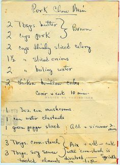 Pork chow mein. Starting with butter. Here's the back: From a box sold in East Moline, Illinois. Pork Chow Mein Brown: 2 Tbsp. butter 2 cups pork 2 cups thinly sliced celery 1-1/2 cups sliced onions 2 cups boiling...