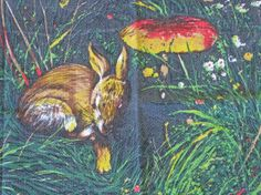 French tea towel with rabbit in woodland scene by Histoires on Etsy, $17.50 #tea towel #rabbit #histoires #etsy