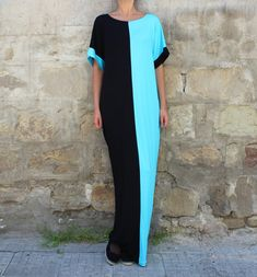 Maxi dress/ Kaftan/ Black and Turquoise Caftan/ Plus size dress/ Summer Maxi Dress/ Oversized Dress/ Cover-Up Dress/ Beach dress