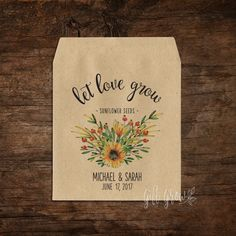 Sunflower Floral Bouquet Wedding Seed Packets Bouquet Wedding, Wedding Favours, Floral Wedding, Woodland Wedding, Rustic Wedding, Seed Packets, Floral Bouquets, Reception Decorations, Sunflowers