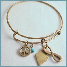 Antique Gold Bracelet Inspired by Alex & Ani Greek by Arrimage, adp, alpha delta pi, infinity, peace, blue